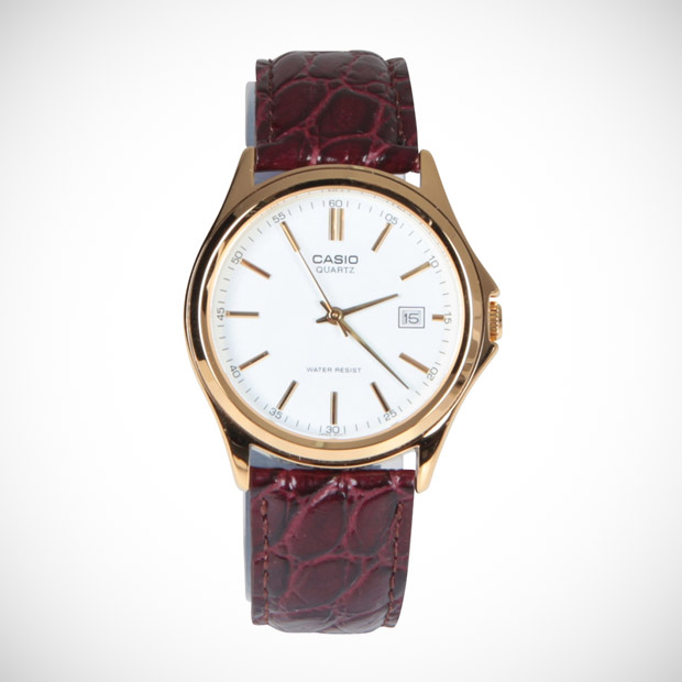 casio vintage leather analog watch