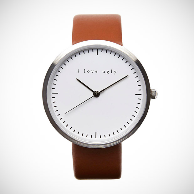 i love ugly analog leather watch
