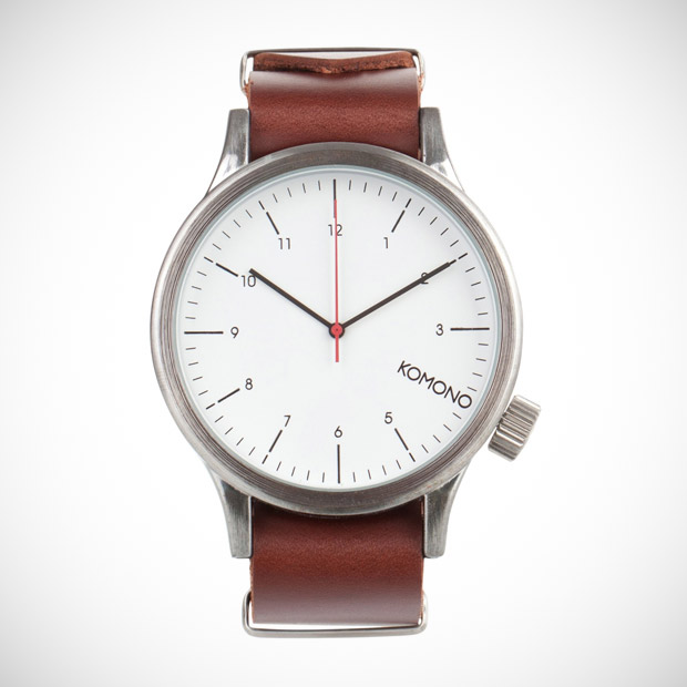 komono analog leather watch