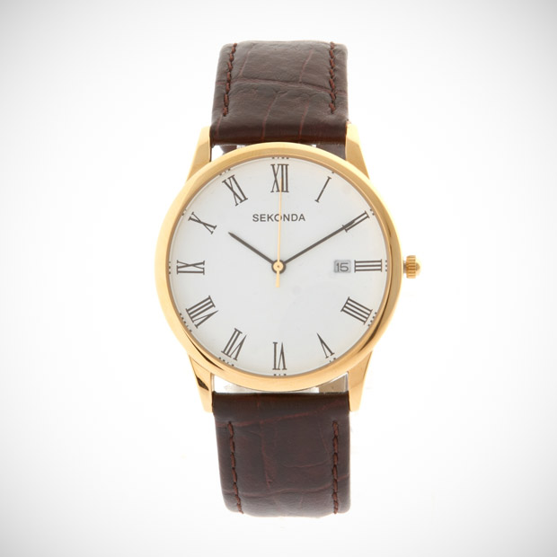sekonda leather analog watch