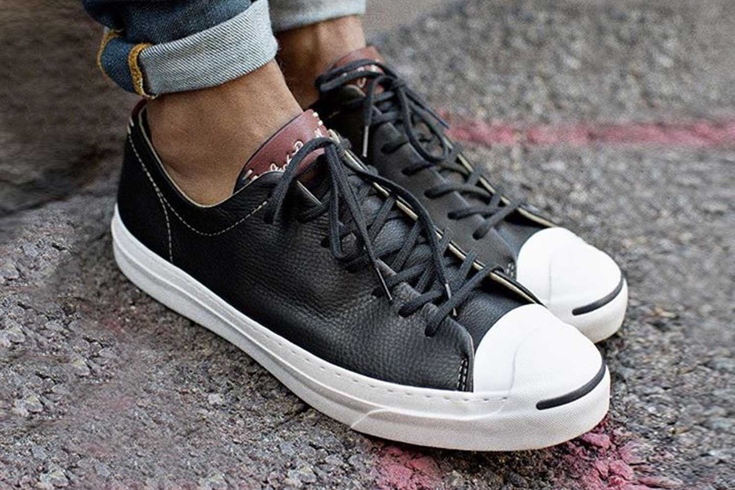 05654472b083 ... leather black black white mid top mens womens shoes czech converse jack  purcell remastered e352f 952bd ...